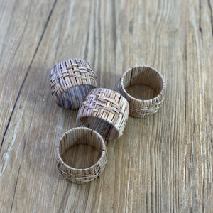 Woven Cane Napkin Rings | Set of 4