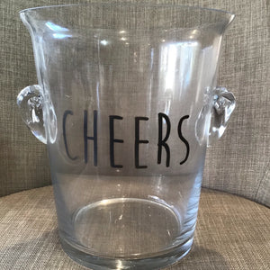 "Glass ""Cheers"" Ice Bucket available at Bench Home"