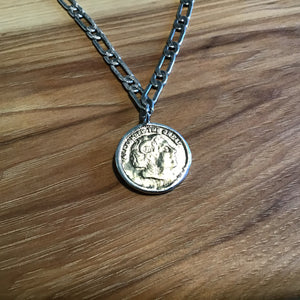 Chunky Silver Coin Necklace available at Bench Home