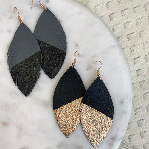 Two-Tone Feather Earrings | 2 Colors