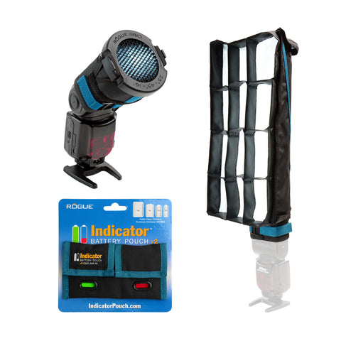 Rogue FlashBender 2 - XL Pro Lighting System + 3-in-1 Flash Grid + Indicator Battery Pouch
