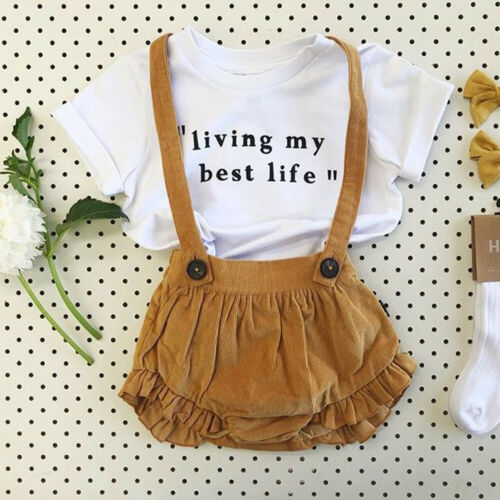 2PCS T-shirt+Bib Pants Outfit