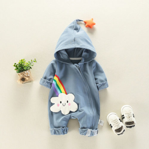 Newborn Baby Boy Girl Rainbow Romper Jumpsuit Playsuit Outfits Clothes
