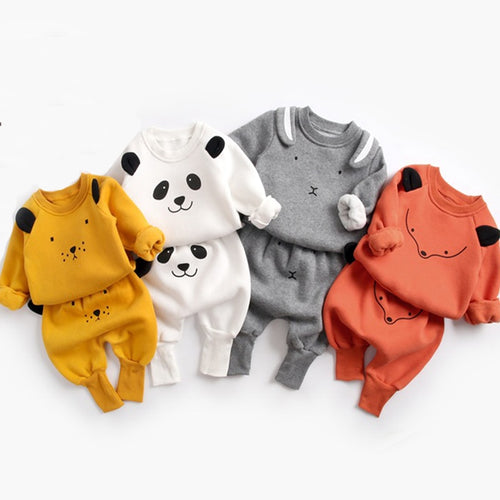 Autumn Winter Baby Boy Girl Cute Animal Pullover Sweatshirt Top + Pant Set