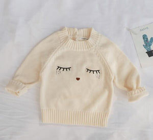Baby Girl Winter Sweater and Knitted Bottom Set with Kitten Socks
