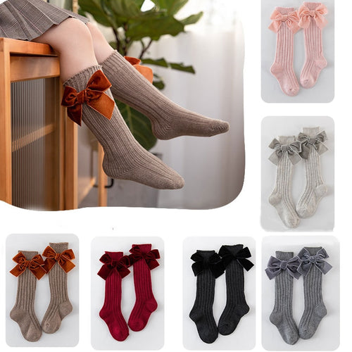 0-6Yrs school girls knee high long fall velvet socks