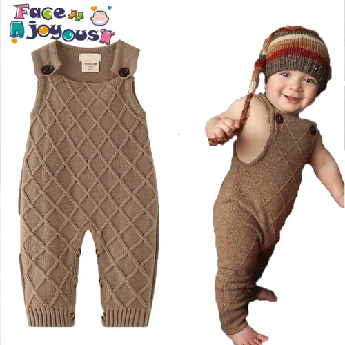 New 2019 Winter Baby Boys Knitted Romper Sleeveless Overalls