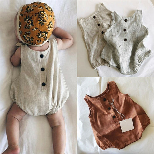 Cotton Linen Sleeveless Button Bodysuit