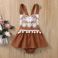 Load image into Gallery viewer, Baby Girls Floral Backless Lace Tassel Top Romper