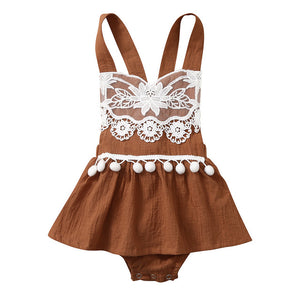 Baby Girls Floral Backless Lace Tassel Top Romper