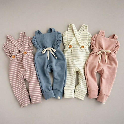 Baby Girl Backless Striped Ruffle Romper Overalls Jumpsuit