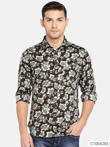 Patch Green Floral Print Long Sleeve Shirt