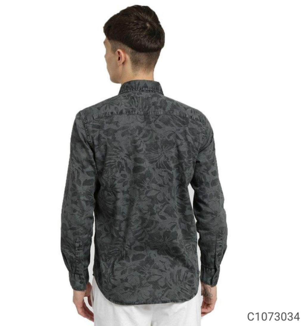 Ash Grey Floral Print Long Sleeve Shirt