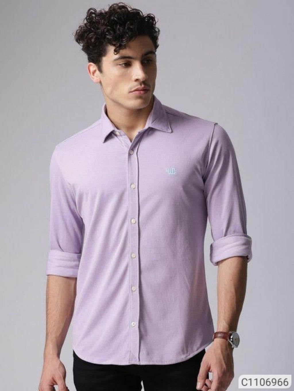 YWC Lavender Purple Classy Regular Fit Shirt