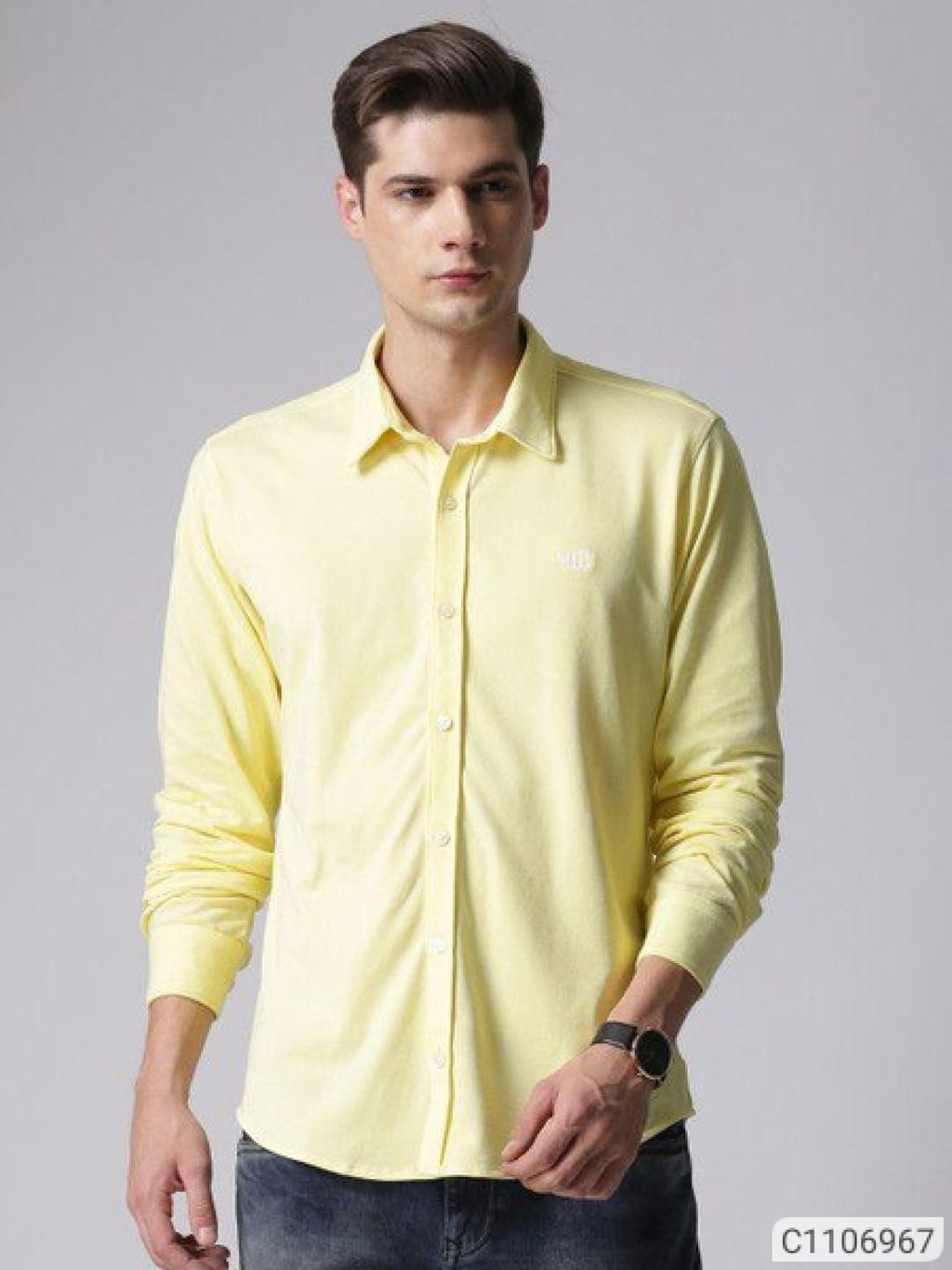 YWC Canary Yellow Classy Regular Fit Shirt
