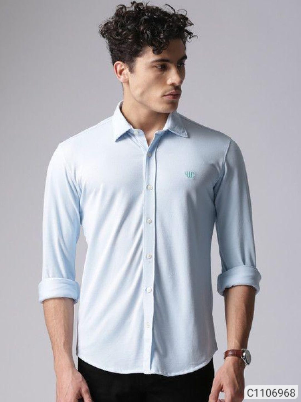 YWC Cool Blue Classy Regular Fit Shirt
