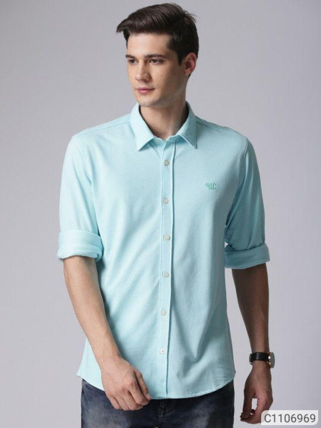YWC Water Blue Classy Regular Fit Shirt
