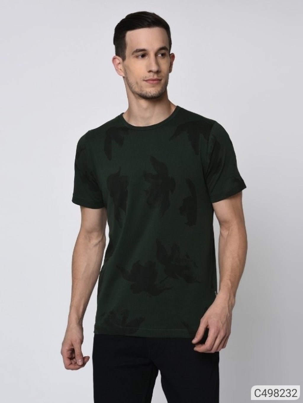 Bottle Green Tropical Print Short Sleeve T-shirt