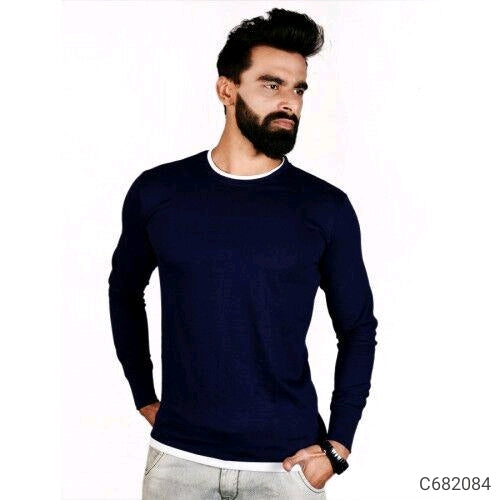 Midnight Blue Solid Long Sleeve T-shirt