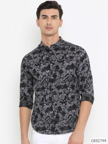 Extreme Black Floral Print Long Sleeve Shirt