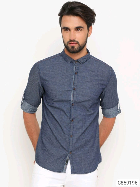 Denim Micro Checked Shirt