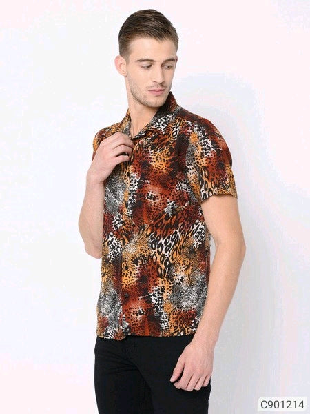 Scarf Print Short Sleeve Shirt