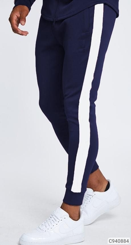 Navy Blue Striped Joggers