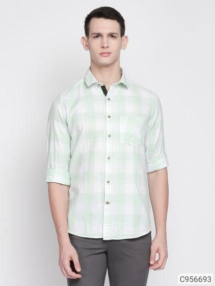Mint Green Check Long Sleeve Shirt