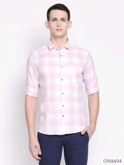 Flamingo Pink Check Long Sleeve Shirt