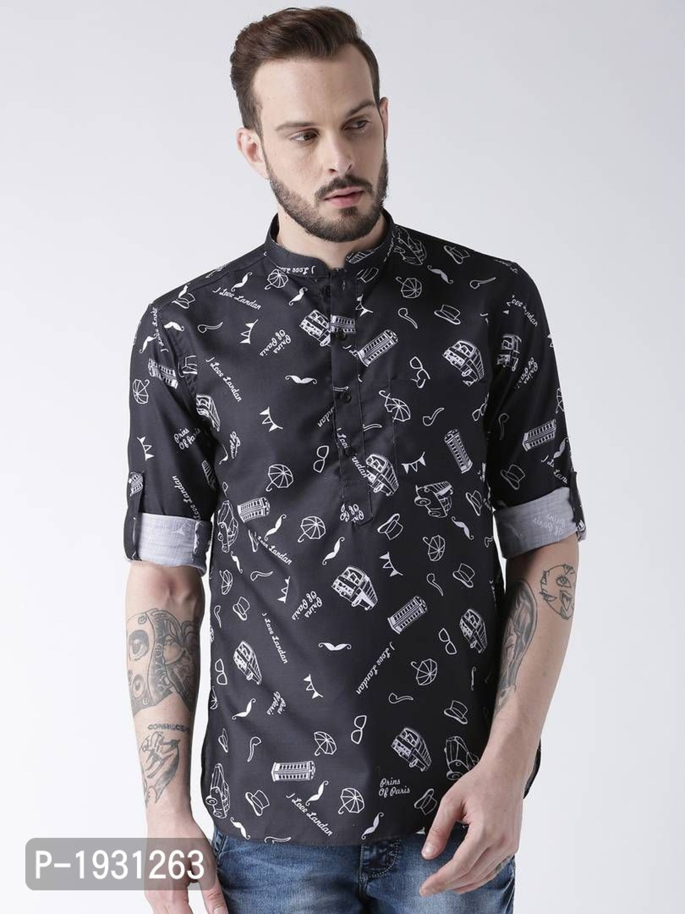 Jet Black Graffiti Print Regular Fit Shirt