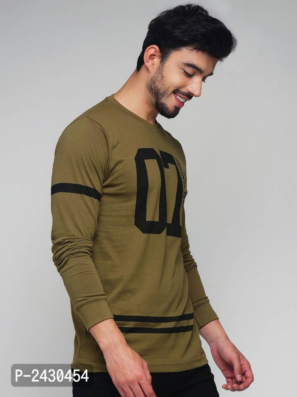 Olive Green Text Print Long Sleeve T-shirt