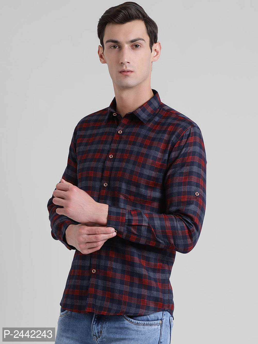 Rose Red Checked Long Sleeve Shirt