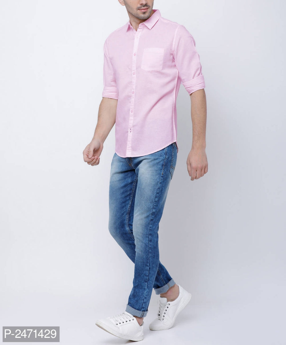 Baby Pink Solid Long Sleeve Shirt
