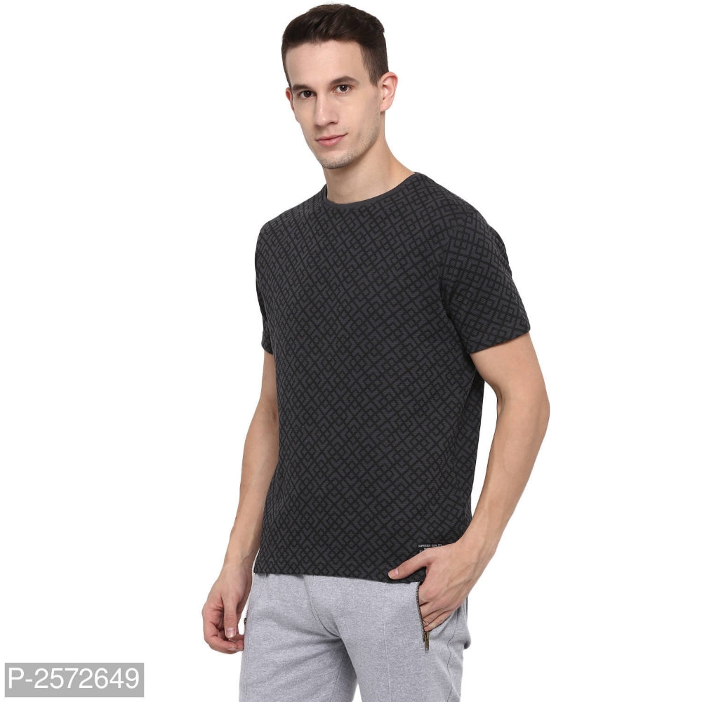 Slate Grey Geometric Print Short Sleeve T-shirt