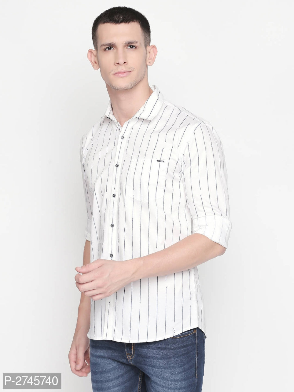 Pearl White Vertical Stripes Long Sleeve Shirt