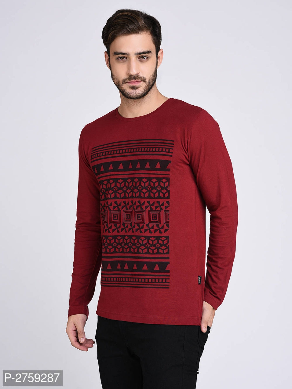 Blood Red Abstract Print Long Sleeve T-shirt