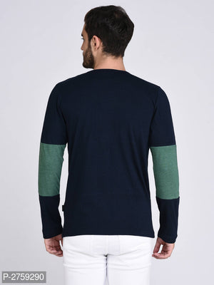 Midnight Blue Colour Block Long Sleeve T-shirt