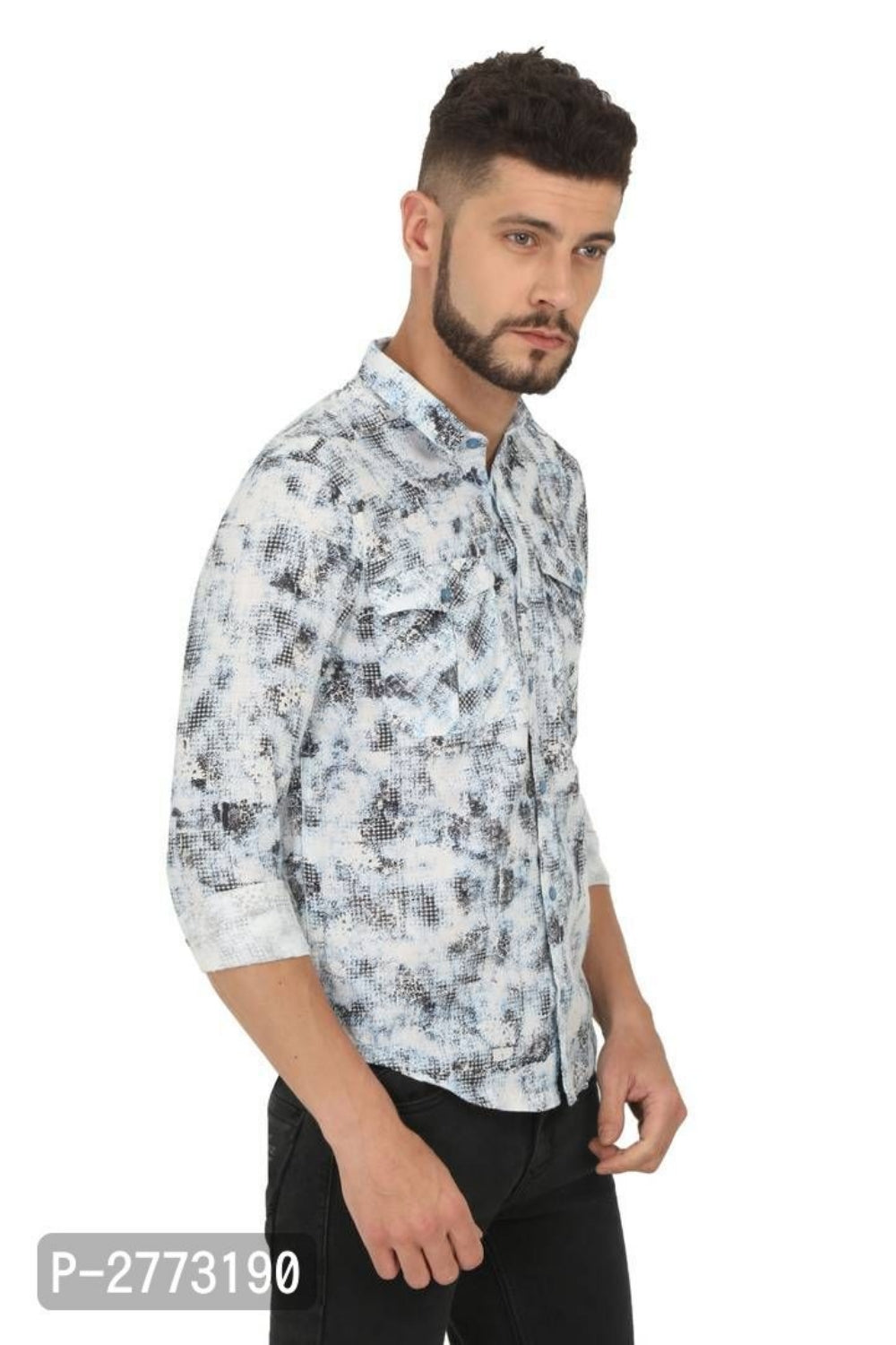 Vanilla White Scribble Print Long Sleeve Shirt