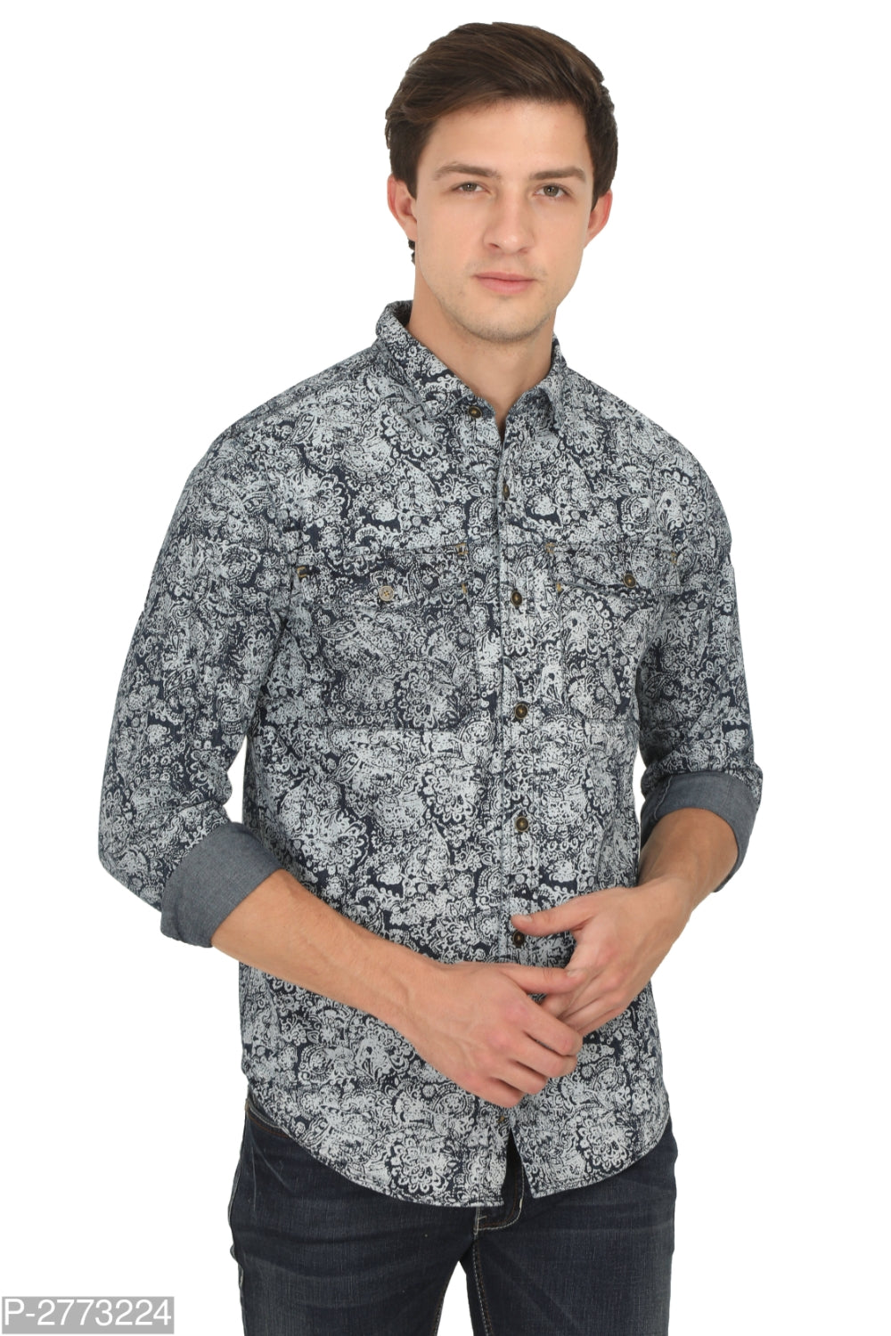 Carbon Grey Paisley Print Long Sleeve Shirt
