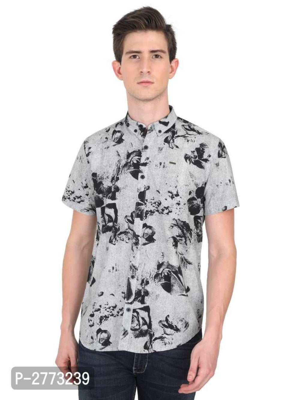 Carbon Grey Floral Print Long Sleeve Shirt