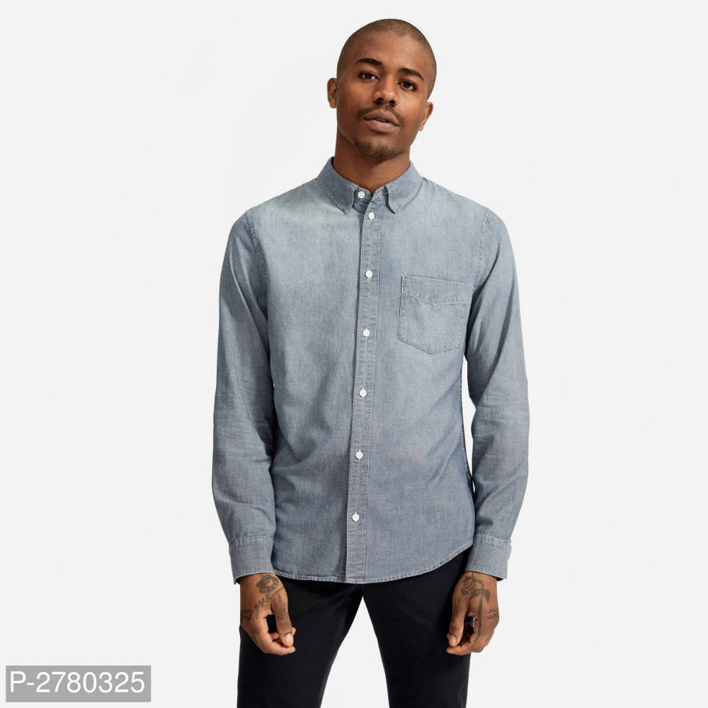 Slate Grey Faded Denim Long Sleeve Shirt