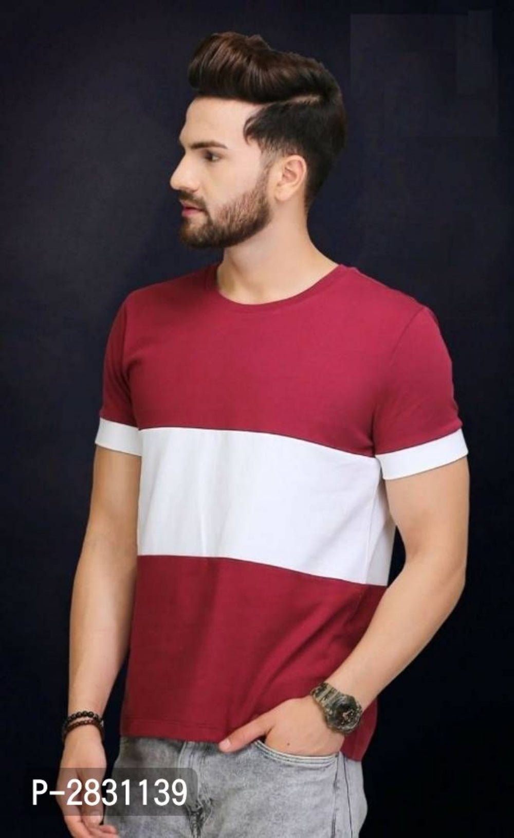 Apple Red Colour Block Short Sleeve Tshirt