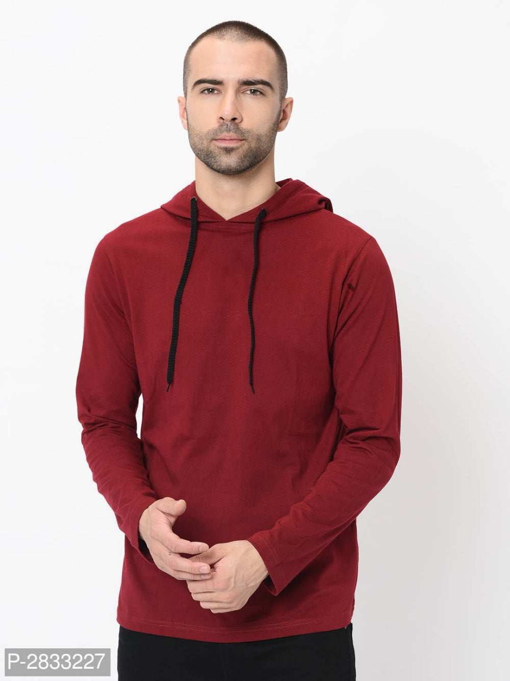 Naughty Maroon Solid Long Sleeve Hooded Tshirt
