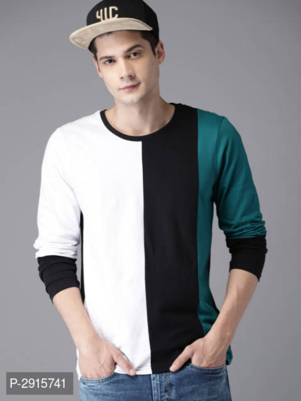 Milk White Colour Block Long Sleeve T-shirt