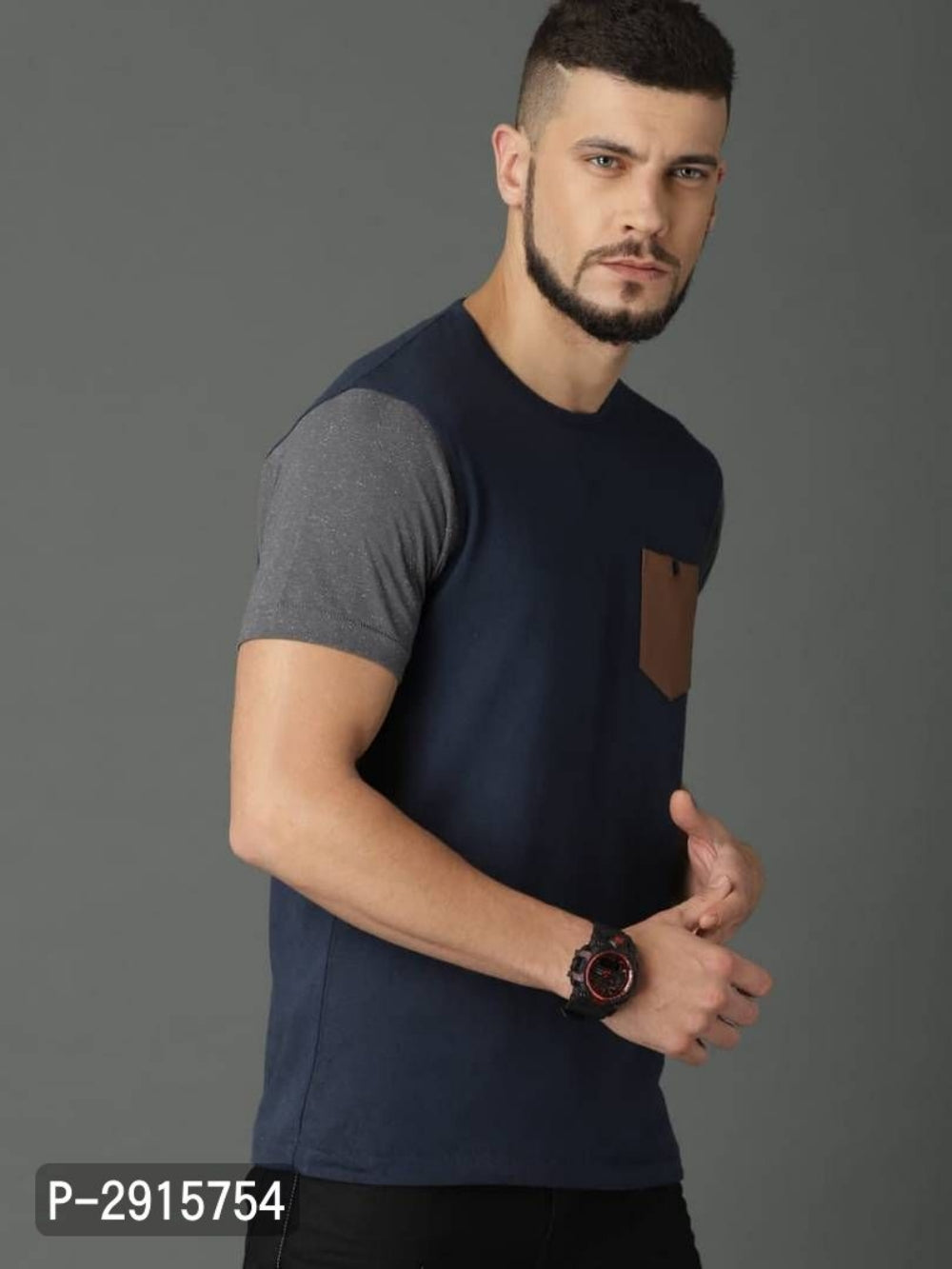 Navy Blue Leather Pocket Short Sleeve T-shirt