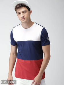 Berry Blue & Cherry Red Colour Block Short Sleeve Tshirt