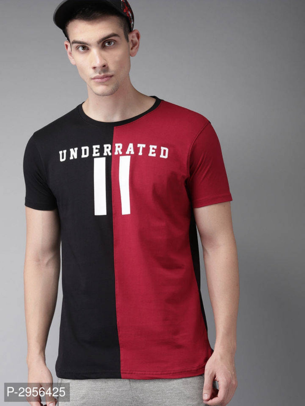 Charcoal Black & Cherry Red Colour Black Short Sleeve T-shirt