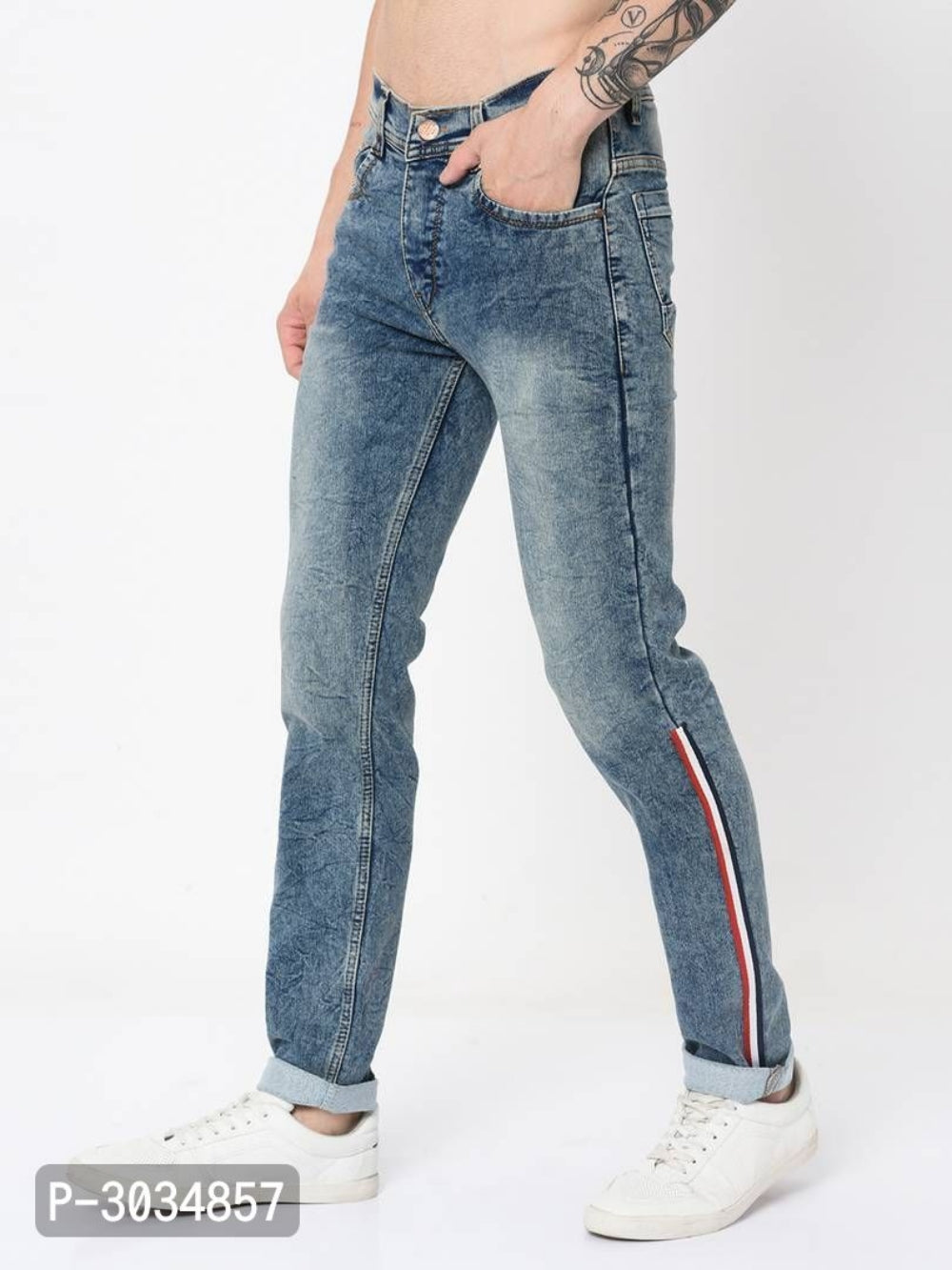 Faded Blue Side Tape Jeans