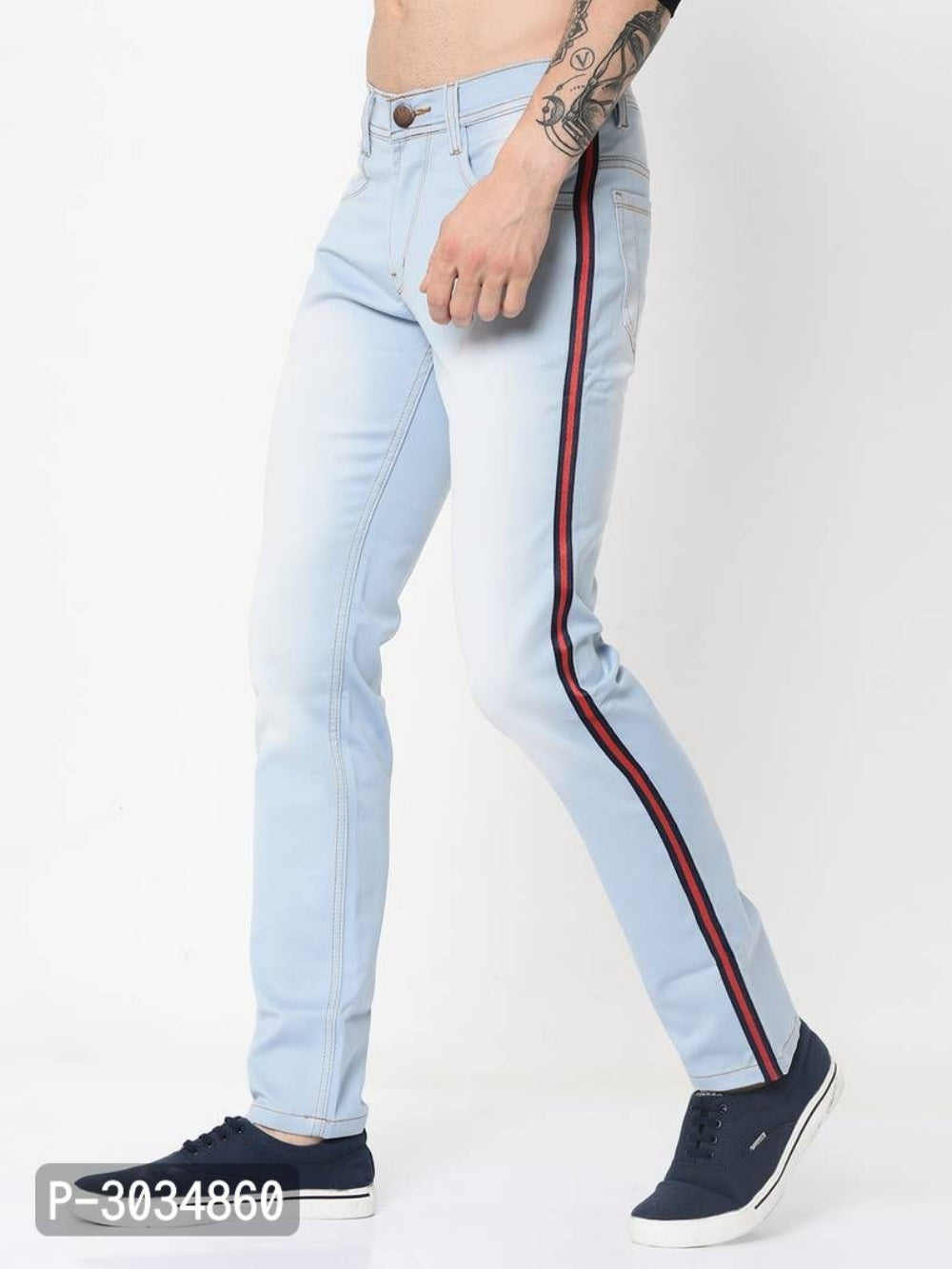 Sky Blue Side Tape Jeans