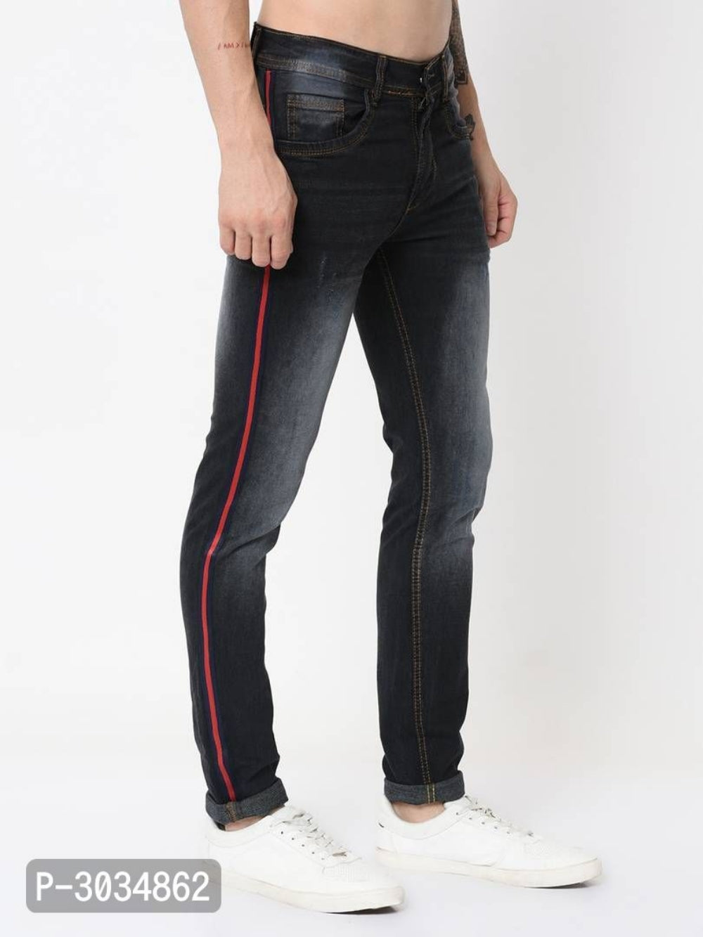 Dark Blue Side Tape Jeans